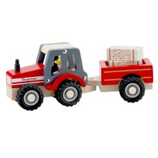 New classic toys Tractor with trailer Hay bales