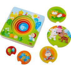Haba wooden puzzle colorful young animals