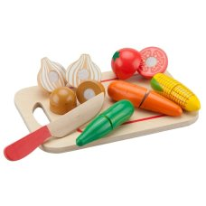 New Classic Toys Vegetable Cutting Set on Cutting Board