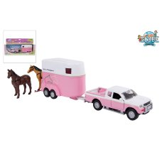 Kids Globe Mitsubishi with Horse trailer Pink