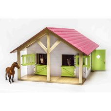 Kids Globe Horse stable pink with 2 Boxes and Storage room 1:24
