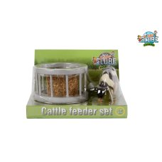 Kids Globe feeding ring with round bale and cow 1:32
