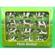 Kids Globe Cows Black White 12 Pieces 1:32