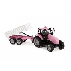 Kids Globe tractor with trailer pink