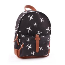 Kid's Backpack Kidzroom Black and White Plane with zipper