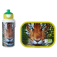 Drinking Bottle and Lunch Box Animal Planet Tiger Green