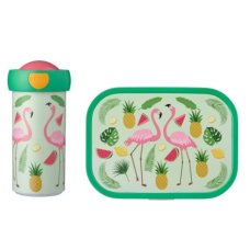 School Cup and Lunchbox Tropical Flamingo