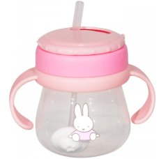 Miffy Straws cup with handles 250ml Pink