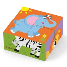 Viga Toys Block Puzzle Wild Animals